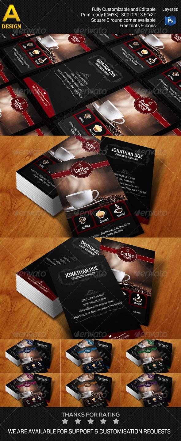 Coffee House Business Card AN0169 - Retro/Vintage Business Cards