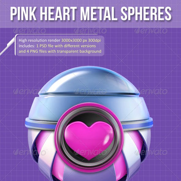 3D Pink Heart Metal Spheres