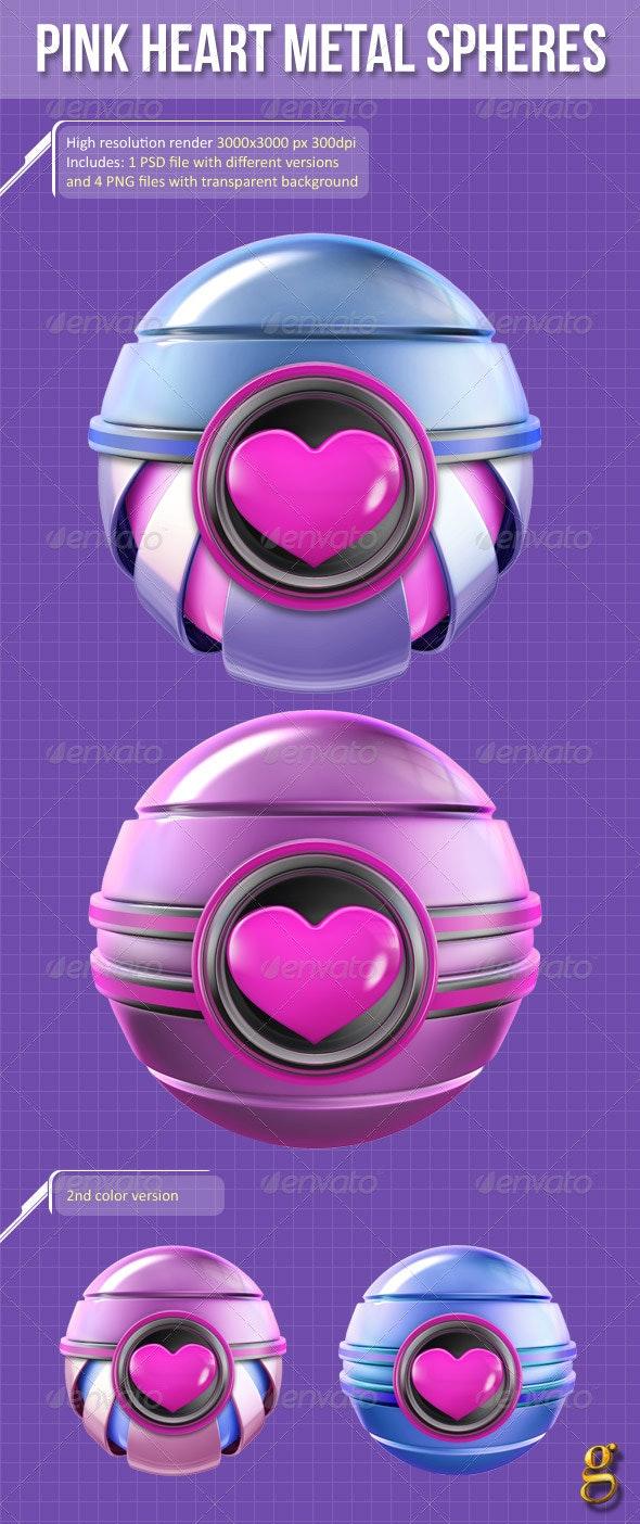 3D Pink Heart Metal Spheres - Abstract 3D Renders