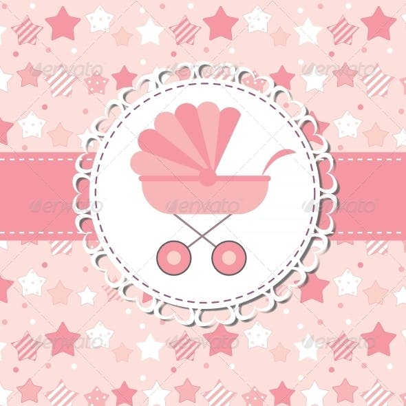 Vector Illustration of Pink Baby Carriage for Newborn