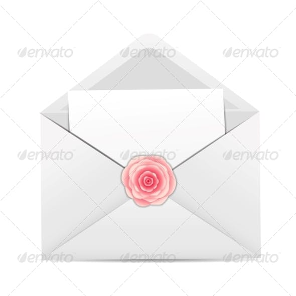 Valentine`s Day Card with Envelope and Rose Flower