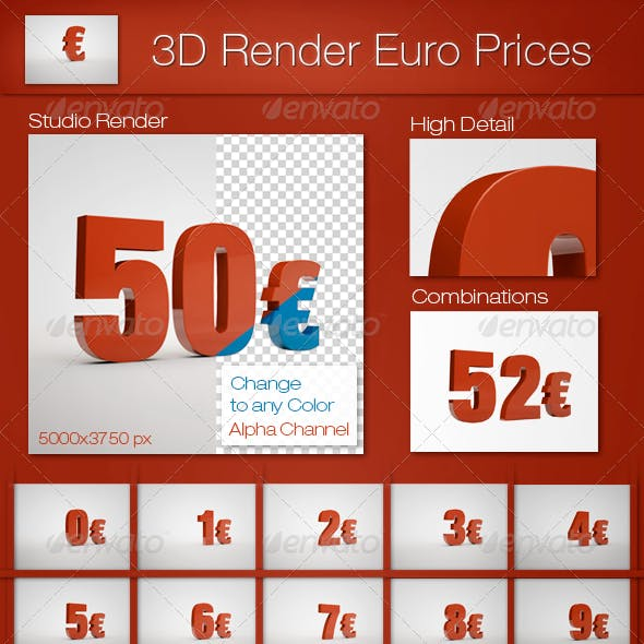 3D Render Euro Prices