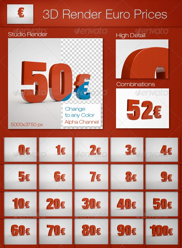 3D Render Euro Prices - Text 3D Renders