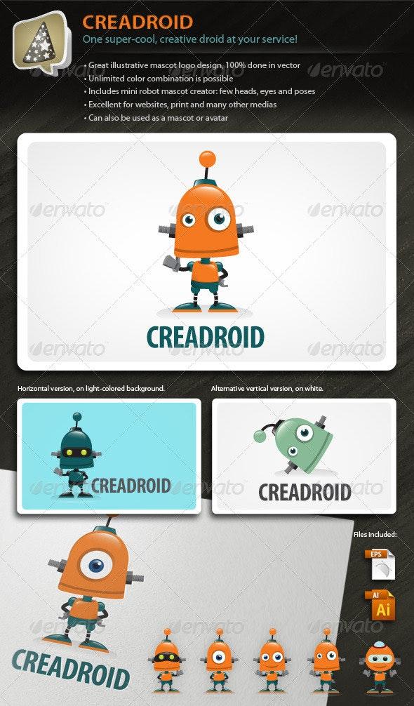 Creadroid - Robot Mascot Logo For Any Creative Biz - Objects Logo Templates