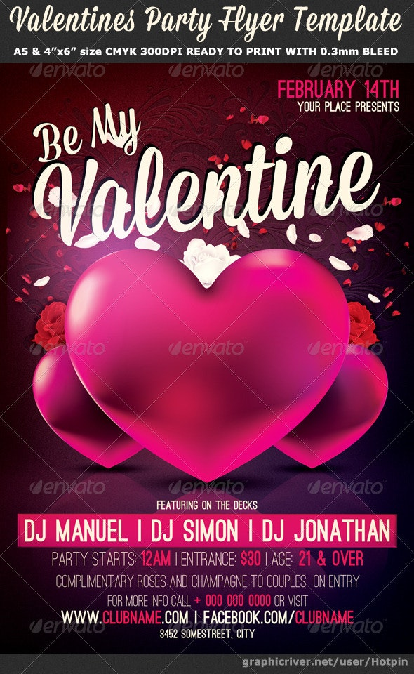 Be My Valentine Party Flyer Template - Flyers Print Templates