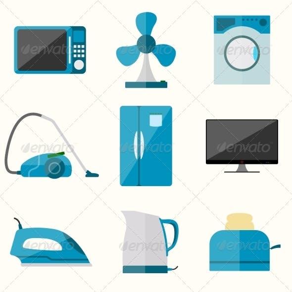 Set of Household Appliances Set