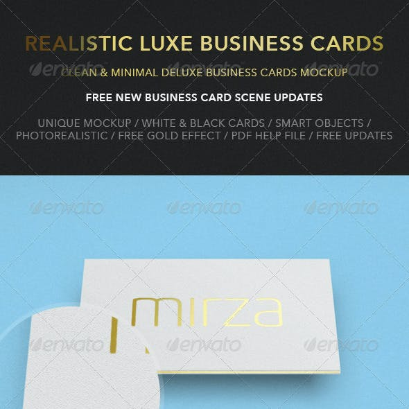 Realistic Luxe Business Card Mock-Up