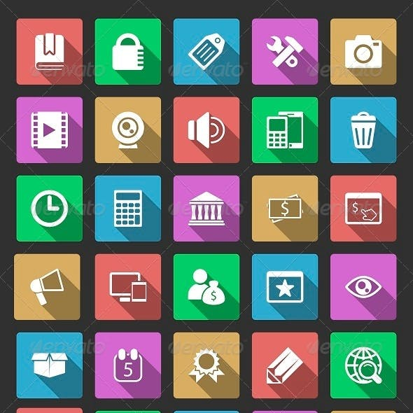 50 SEO Icons With Long Shadow