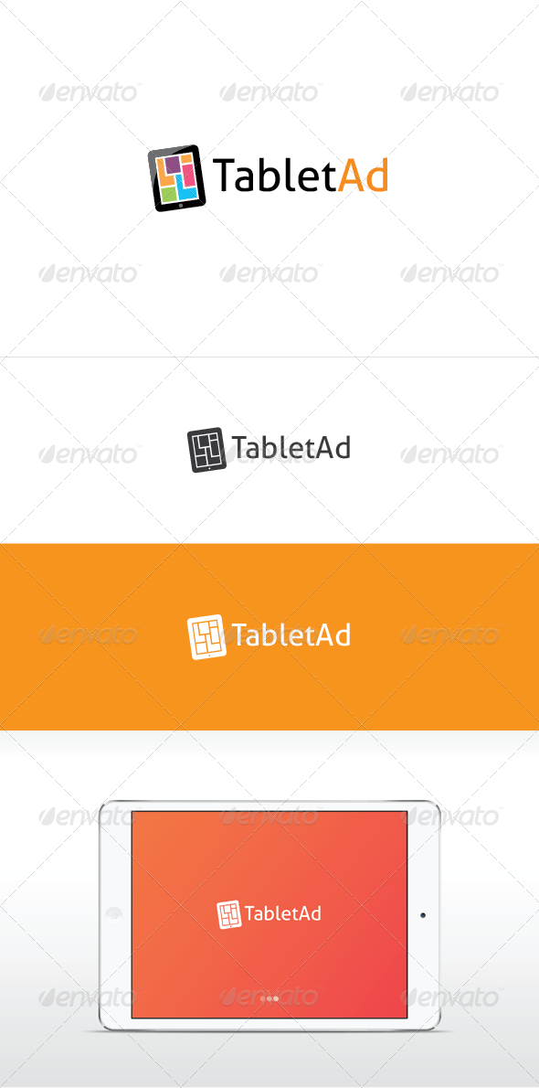 Tablet Ad Logo Template - Vector Abstract