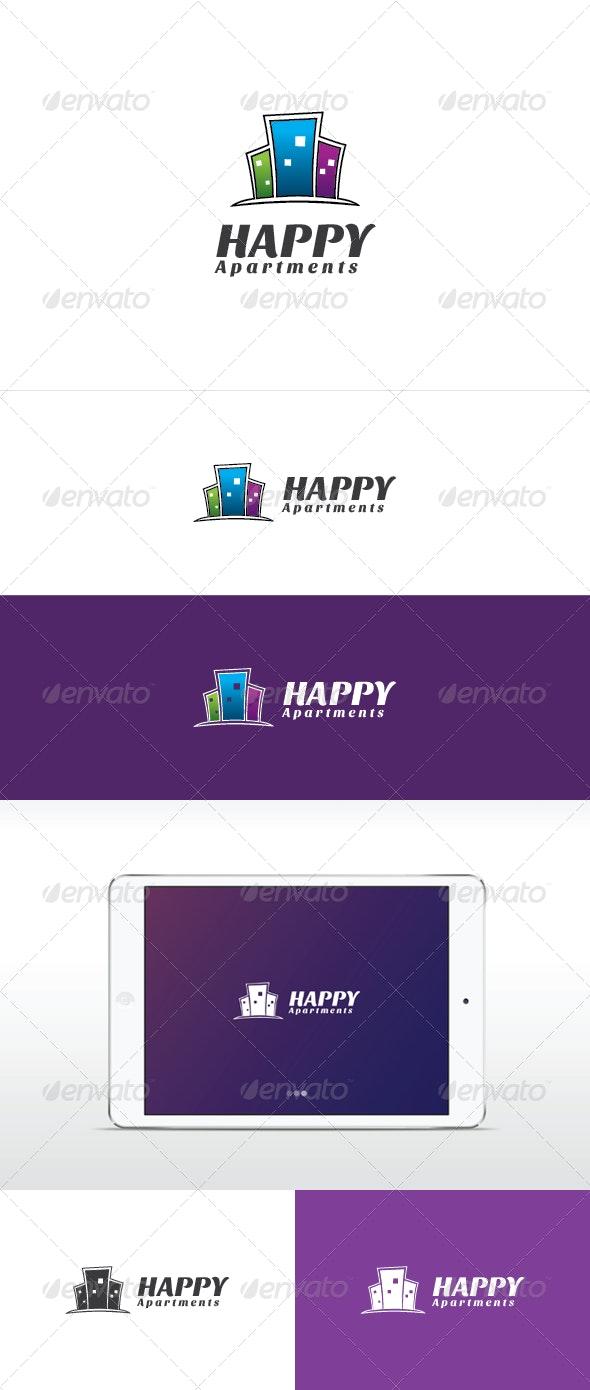 Happy Apartments Logo Template