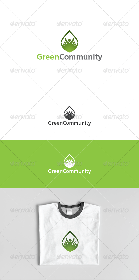 Green Community Logo Template - Humans Logo Templates