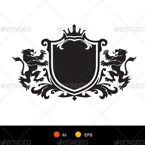 Lion Crest Symbol Heraldic