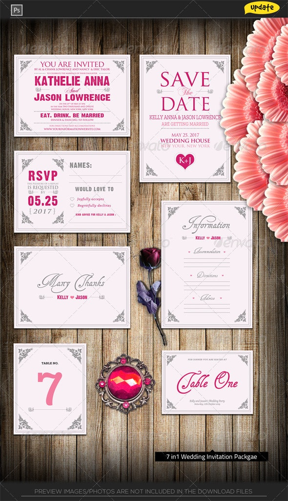 Pinky Love Wedding Invitation Package - Miscellaneous Print Templates