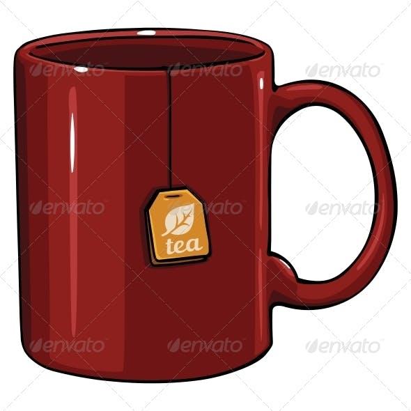 Cartoon Mug with Tea Bag