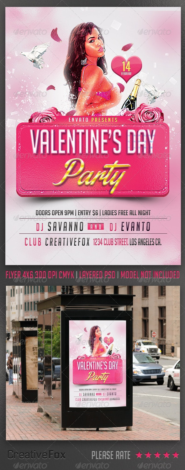 Valentine's Day Party Flyer Template - Events Flyers