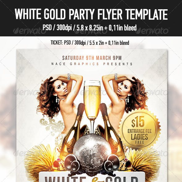 White Gold Glamour Party Flyer Template