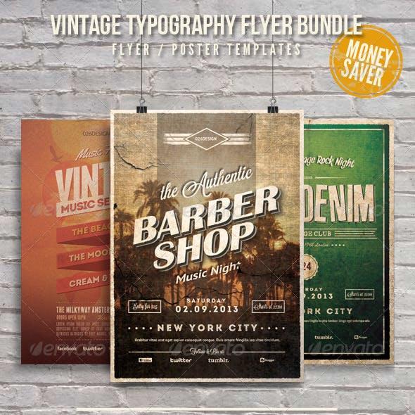 Vintage Typography Flyer / Poster Bundle Vol. 1