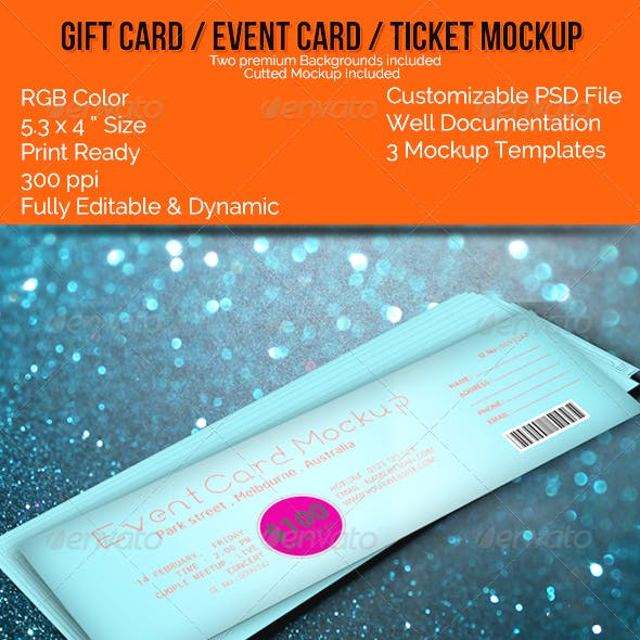 Realistic Gift Card/Event Card/Ticket Card Mockups