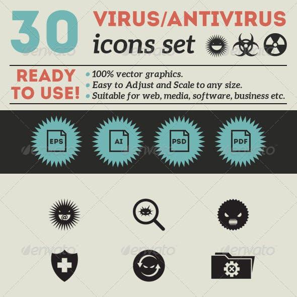 Virus/Antivirus 30 Icons Set