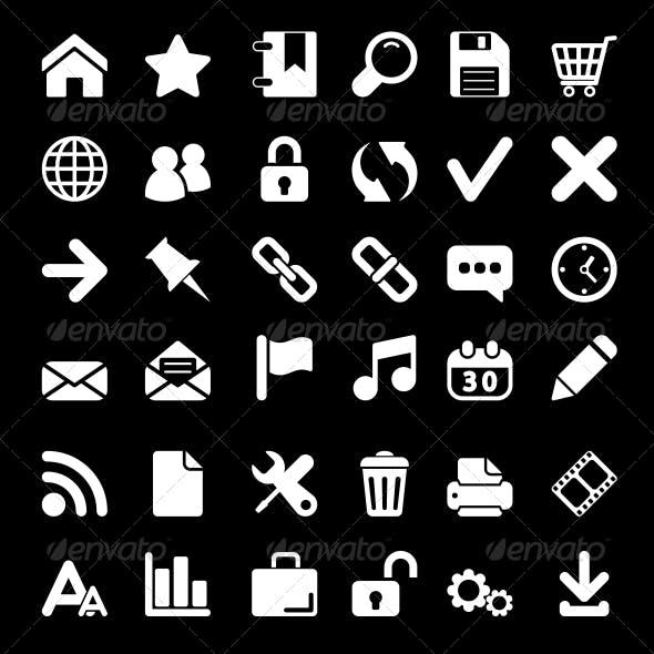 White Web Icons Set