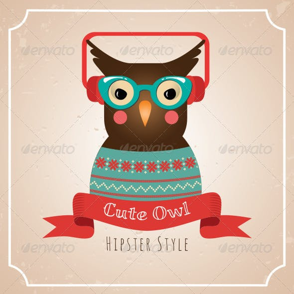 Illustration of Hipster Owl