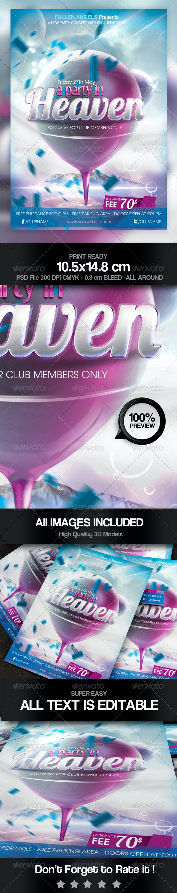 A Party in Heaven Flyer  - Clubs & Parties Events