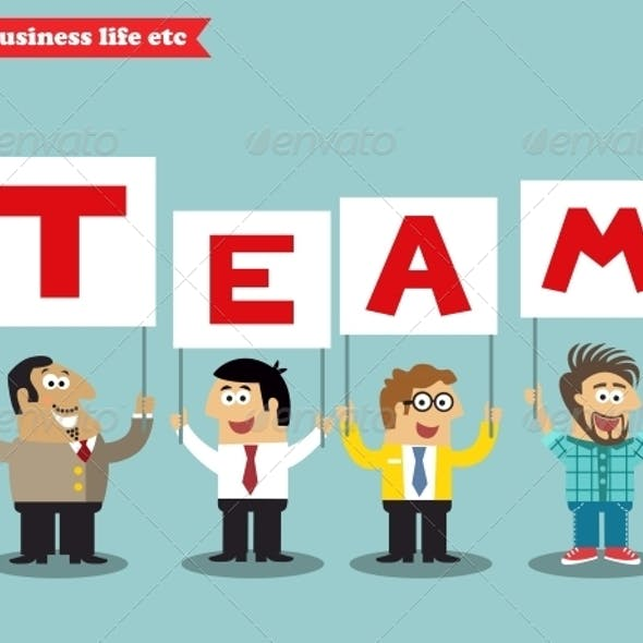 Office Personnel Holding Team Sign