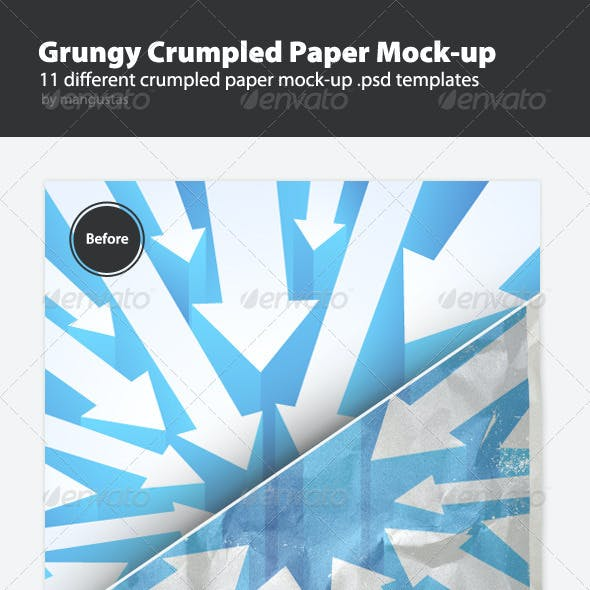 Grungy Crumpled Paper Mock-up Templates