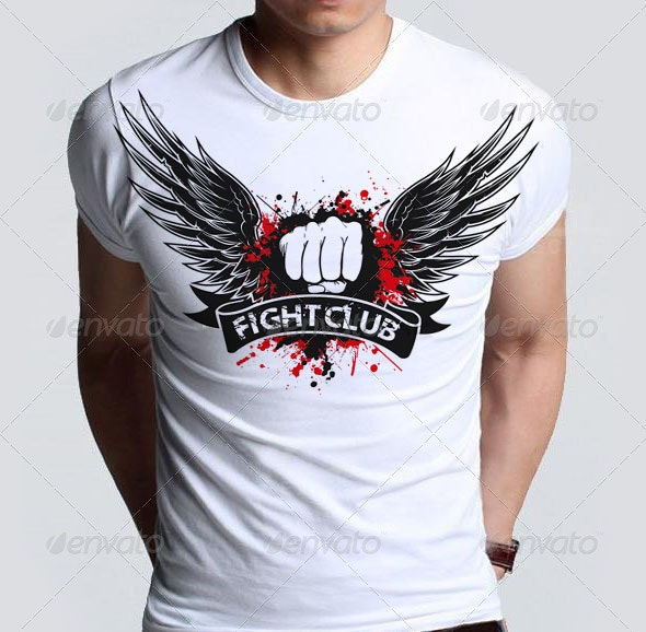 Agressive Fight Club T-shirt  with Blood Splatter - Sports & Teams T-Shirts