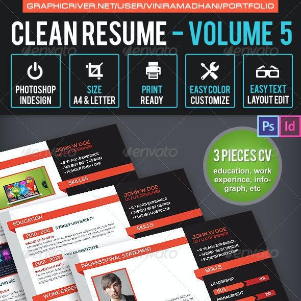 Simple & Clean Resume CV Volume 5