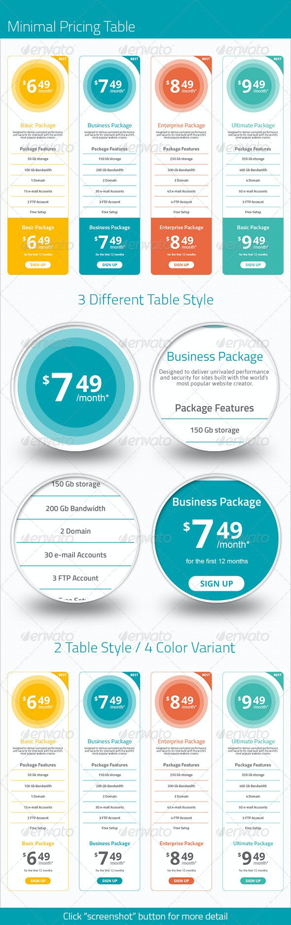 Minimal Pricing Table - Tables Web Elements