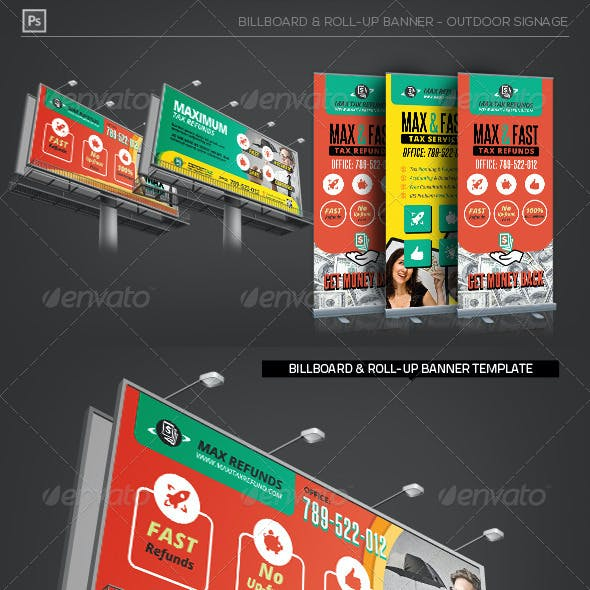 Tax Service Billboard Roll-Up Outdoor Banner