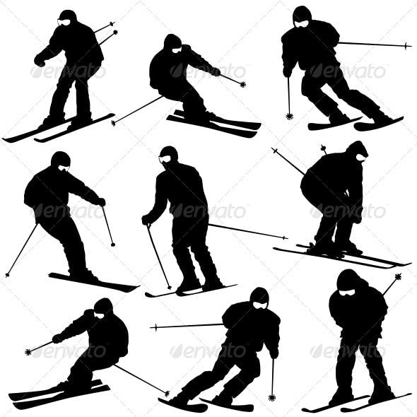 Mountain Skier Speeding Down Slope