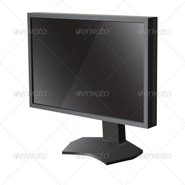 Black LCD Television Monitor