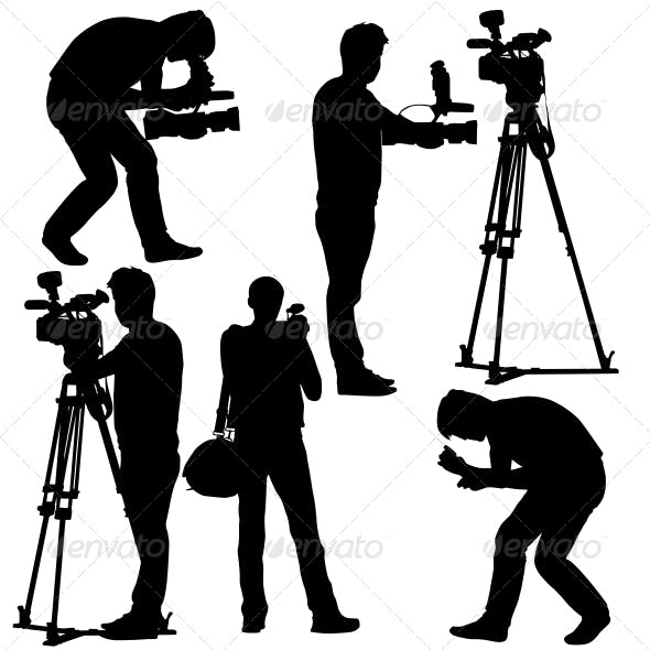 Cameramen Silhouettes with Video Camera