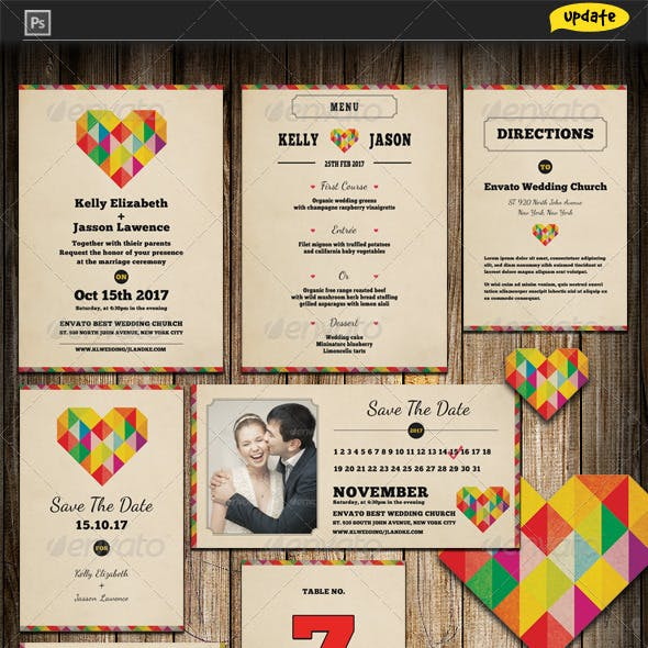 Wedding Invitation Package - I Heart You