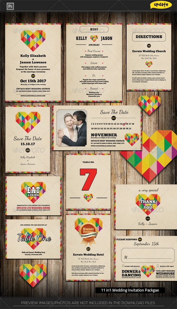 Wedding Invitation Package - I Heart You - Weddings Cards & Invites