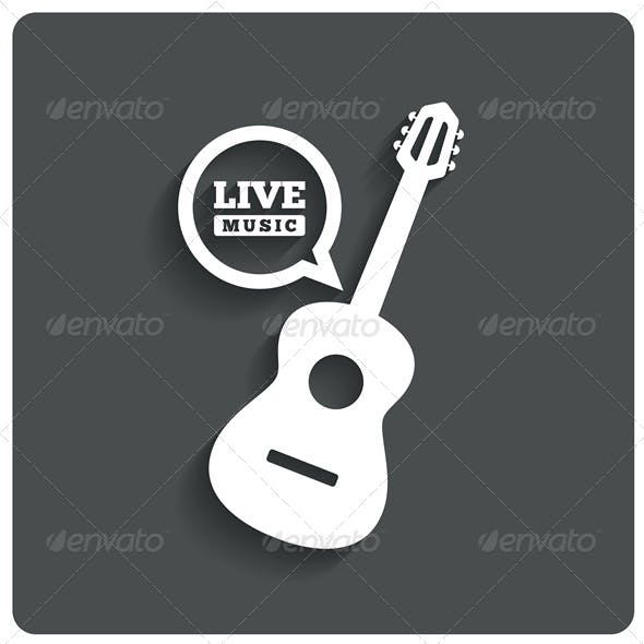 Acoustic Guitar Icon Live Music Symbol