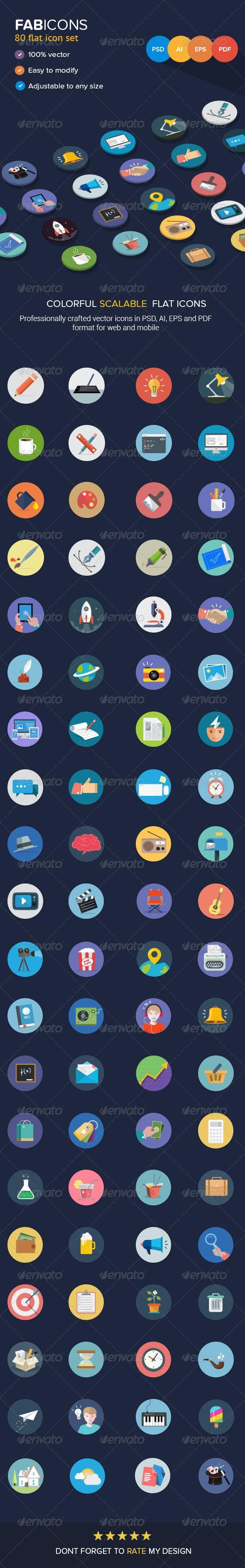 80 Fresh Flat Vector Icons - Web Icons
