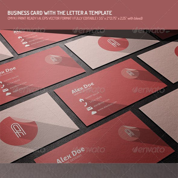 Flat Business Card with Letter A