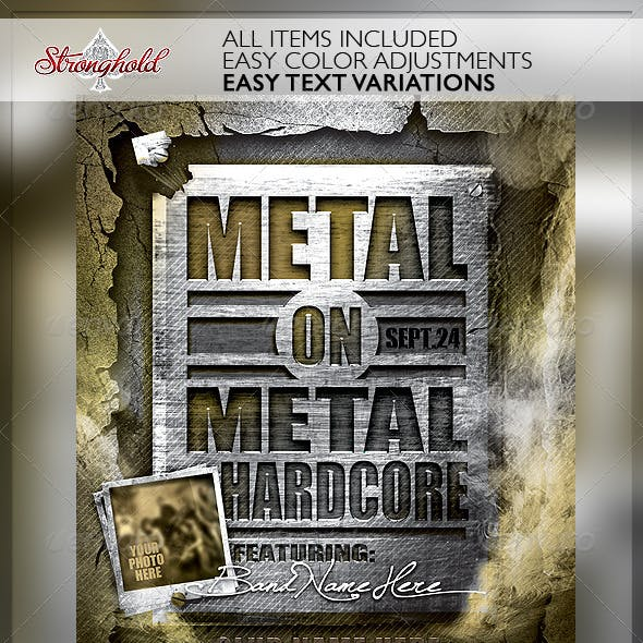 Metal on Metal Hardcore Flyer Template