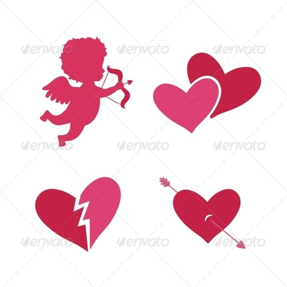 Set of Cupid Icons