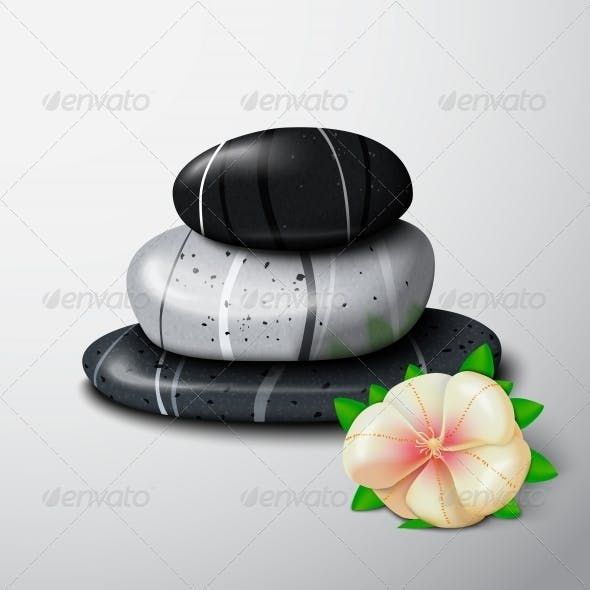 Spa Stones with Tropical Flower