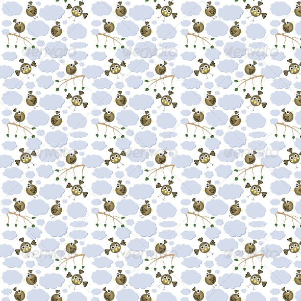 Vector Cartoon Birds Seamless Pattern