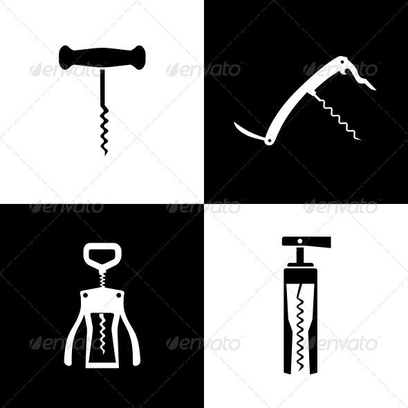 Set of Black and White Corkscrews