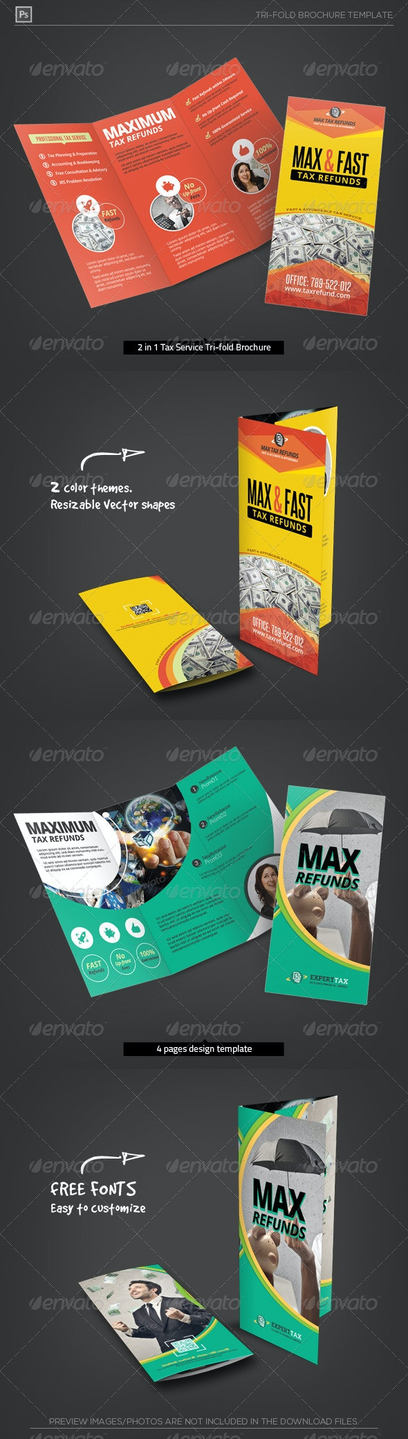 Business Tax Refund Service Tri-Fold Brochure - Corporate Brochures