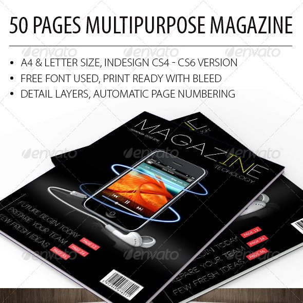 A4/Letter 50 pages Magazine Template