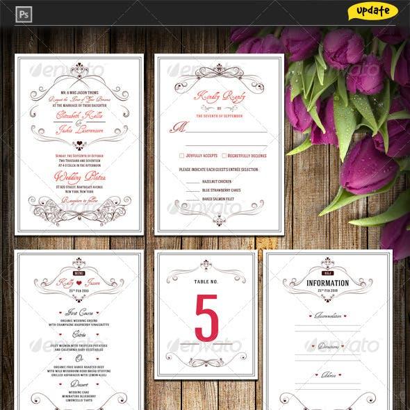 Wedding Invitation Package - Flowery Love
