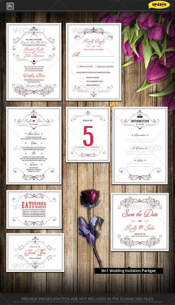 Wedding Invitation Package - Flowery Love - Weddings Cards & Invites