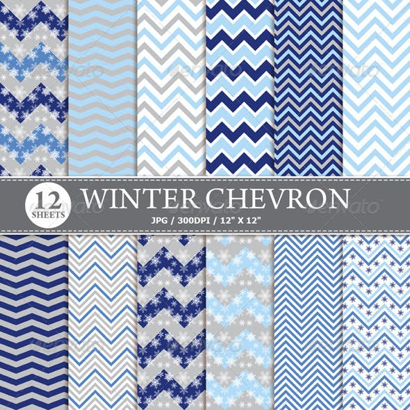 Winter Chevron Digital Paper Pack